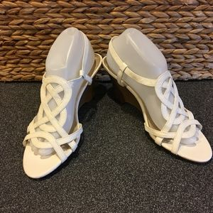 Dexter White Wedge Sandals